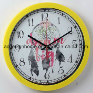 Yellow Decorative Plastic Wall Clock with Painted Dream Cathcer for Living Room Bedroom Interior Des