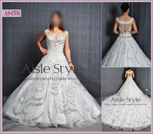 Honorable Straps Crystal Chapel Trainwedding Dress/Wedding Gown/Bride Dress/Bride Gown (AS4591)