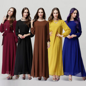 Plus Size Women Full Length Chiffon Muslim Abayas (A543)
