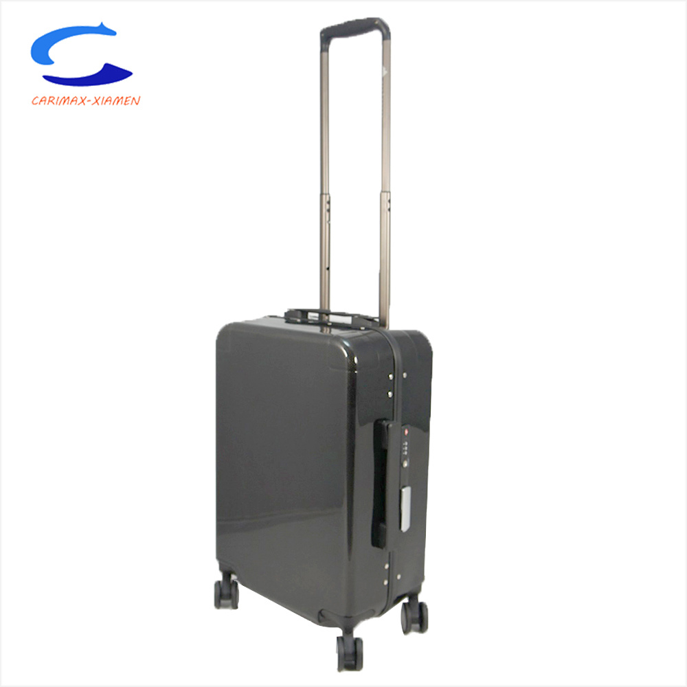Factory ODM OEM Tsa Lock Security 24?? Black Polished Surface PC Hardside Rolling Trolley Luggage Tr