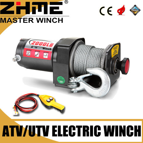 Small ATV 2000lbs Electric Mini Winch with Wire Rope