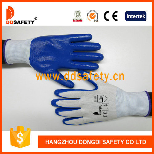 Blue Work Gloves Nitrile Coated