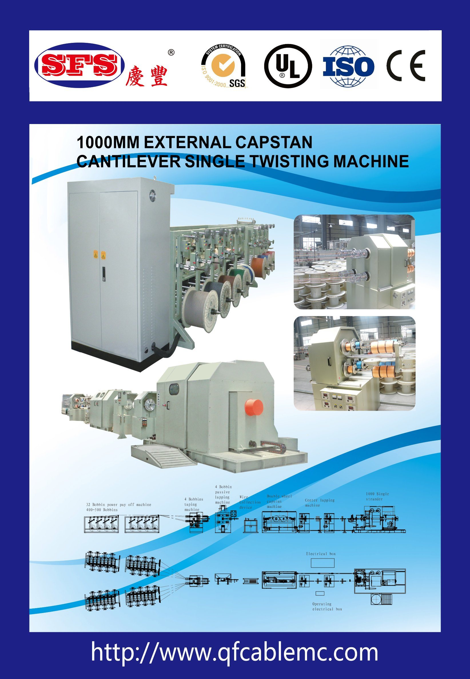 1000 Cantilever Single Twister Cabling Machine