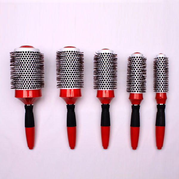 Professional Nano Ceramic & Ionic Barrel Hair Styling Blow Drying Curling Brush Set, Round Thermal H