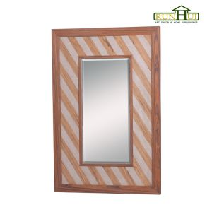 Rustic Distressed Wood Mirror with Beveled Glass