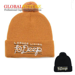 Ball Top Knitted Stave Beanie Hat