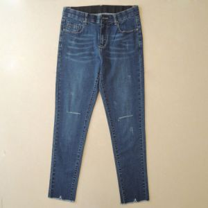 Ripper Lady Jeans with Stretch Waistband and Distinctive Bottom Hem (HDLJ0008-17)