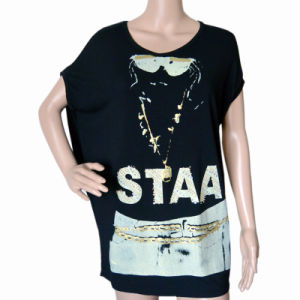 Women Fashion Loose Printed with Strass T Shirt (HT3028)