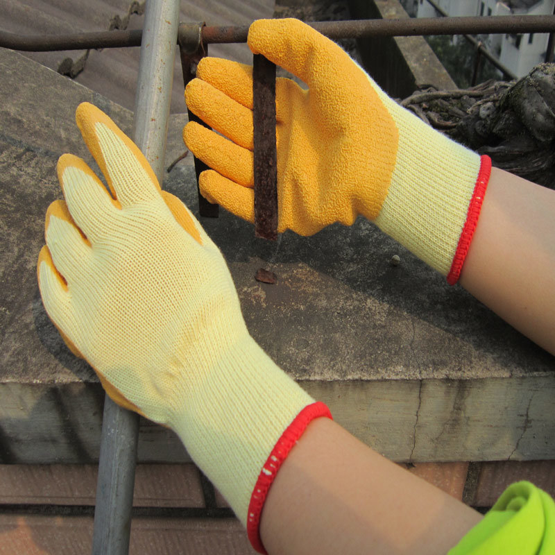 Thermal Latex Gripper Gloves Safety Work Glove Crinkle Finish