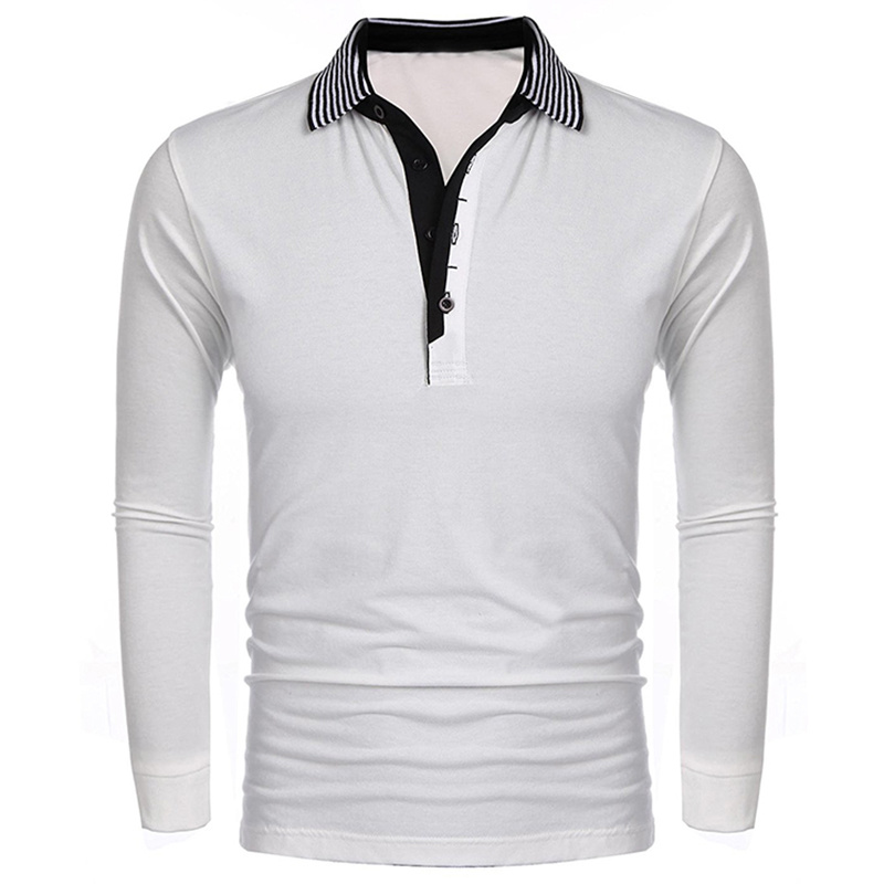 Mens Long Sleeve Striped Collar Casual Comfortable New Polo Shirt
