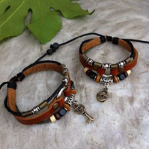 Handmade Wood Bead Leather Set (HW69)
