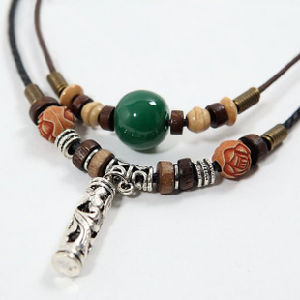 Handmade Wood Bead Leather Necklace (HW133)