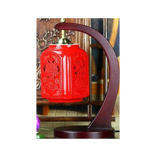 Antique Chinese Red Porcelain Lamp La-09
