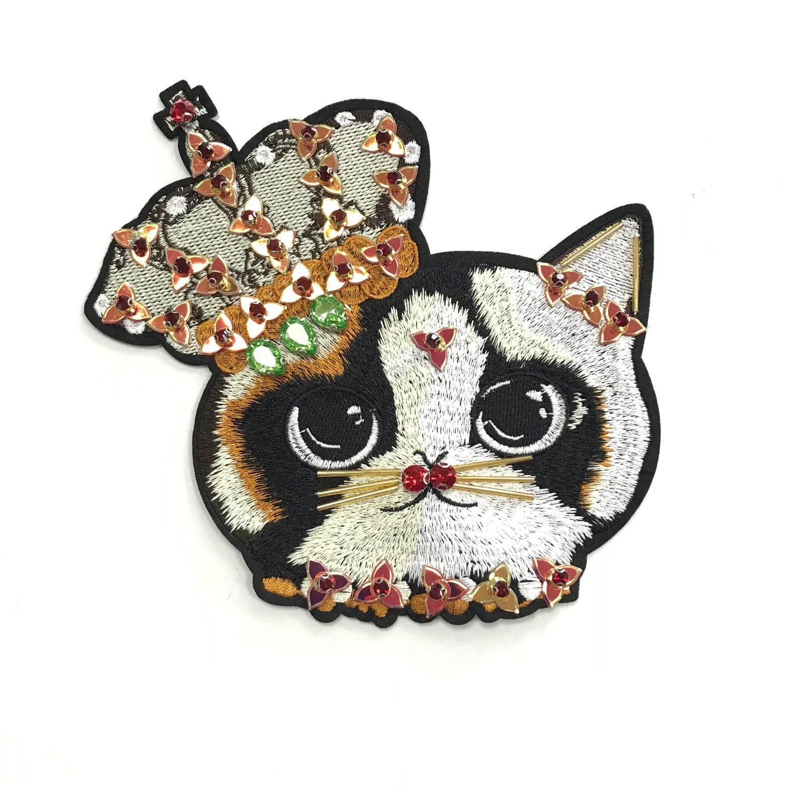 Handmade Embroidery Rhinestone Cat Animal Clothing Accessories Patch