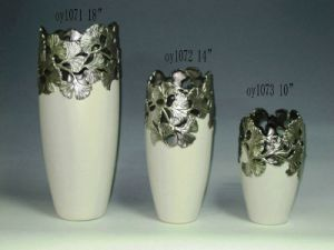 Silver Plated Ceramic Vases (OY1071-OY1073)