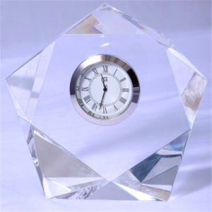 Five-Pointed Crystal Table Clock for Office Decoration or Souvenir