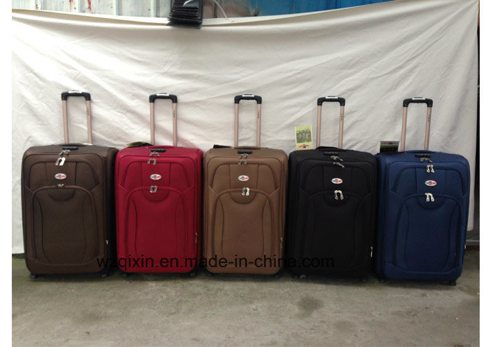 Brown Polyester Trolley Soft Travel Suitcases Luggage